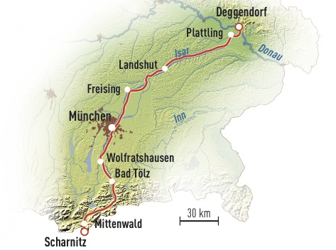 isarradweg karte 2016 6_Radwandern Isarradweg Karte   Magazin SCHULE